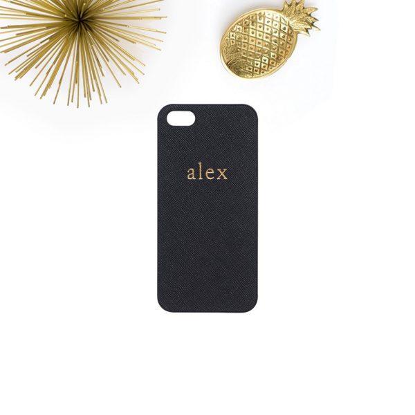 Telefoonhoesje met naam iPhone 7 / iPhone 8 van echt leer in zwart