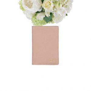 Luxe paspoorthouder in beige leer