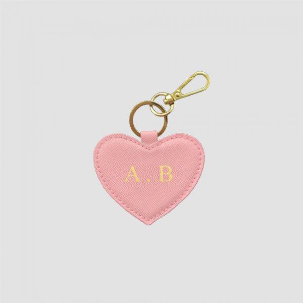 Sleutelhanger met naam in hartvorm - Roze luxe leer