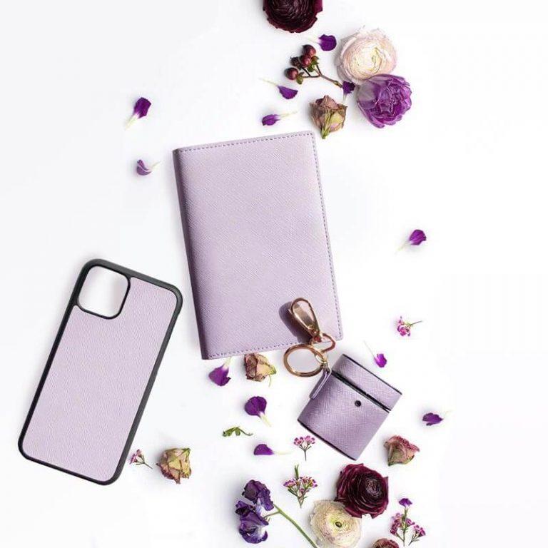 Pastelpaars lila lavendel leren accessoires